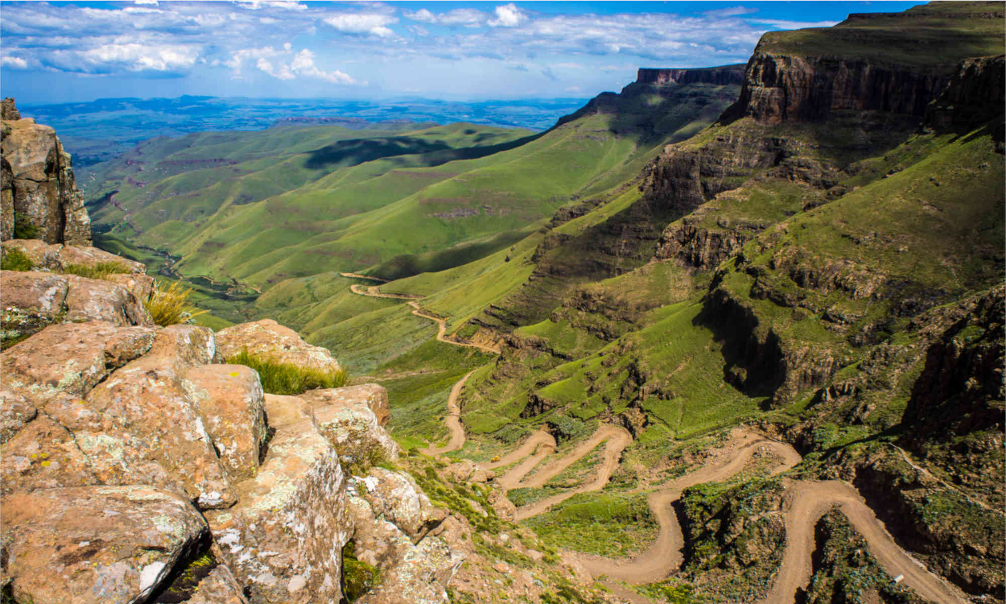 view of road from high up in Sani Pass